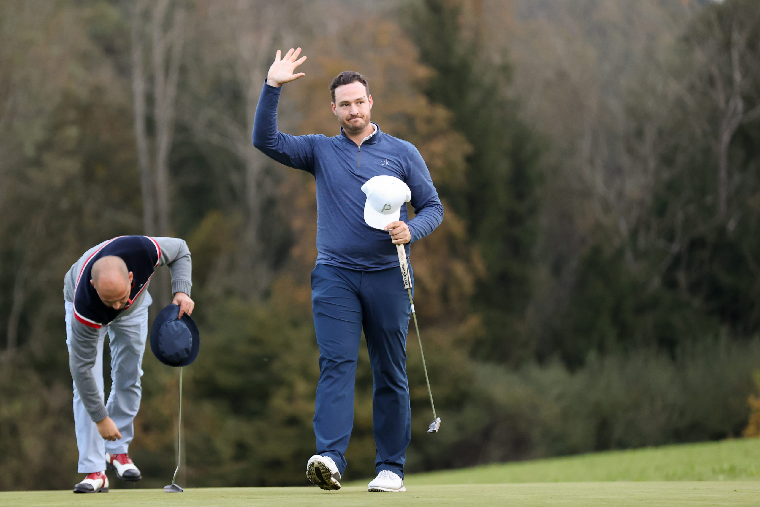 THAL,AUSTRIA,10.OCT.20 - GOLF  - City Championships Graz, GC Thalersee. Image shows the rejoicing of Mario Magagna (GC Gut Freiberg). Photo: GEPA pictures/ Christian Walgram
